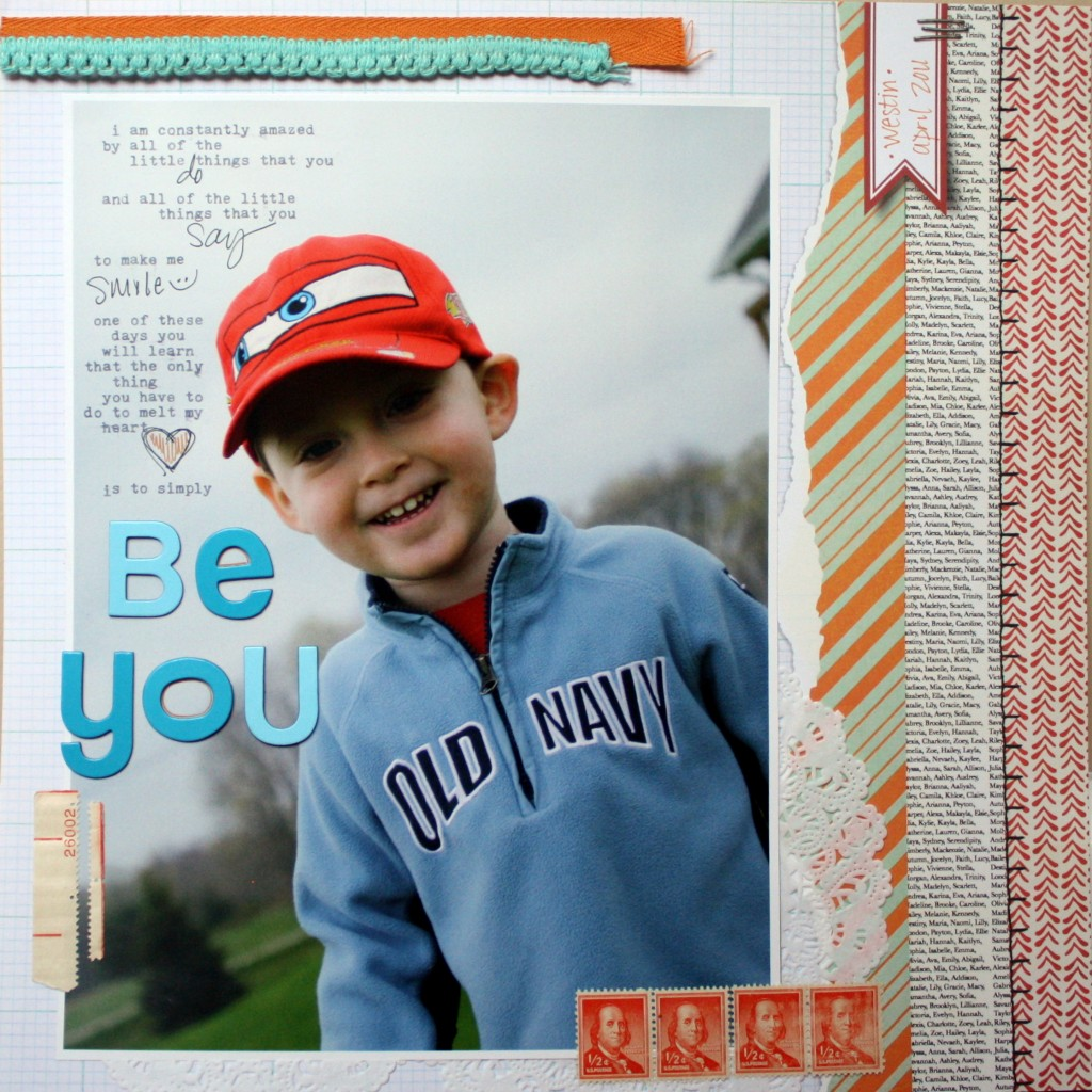 Be You Eco-friendly Scrapbook Layout by Erin Bullock