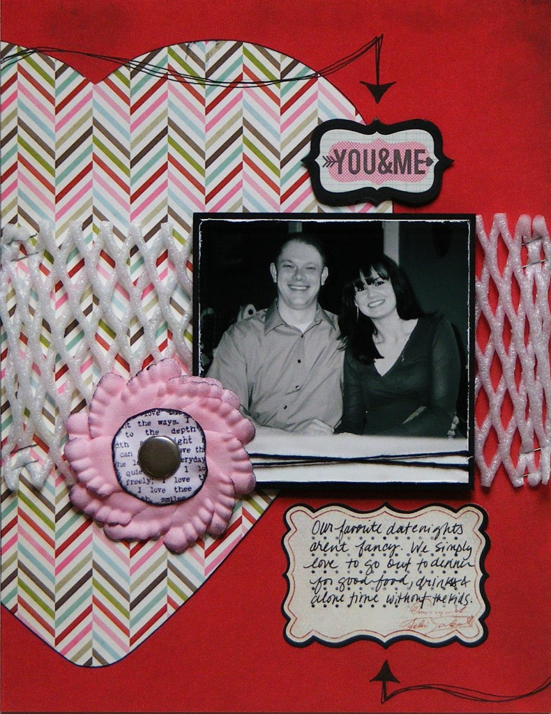 DanielleHunter Ecoscrapbook.com Valentines Day Recycled Scrapbook Layout